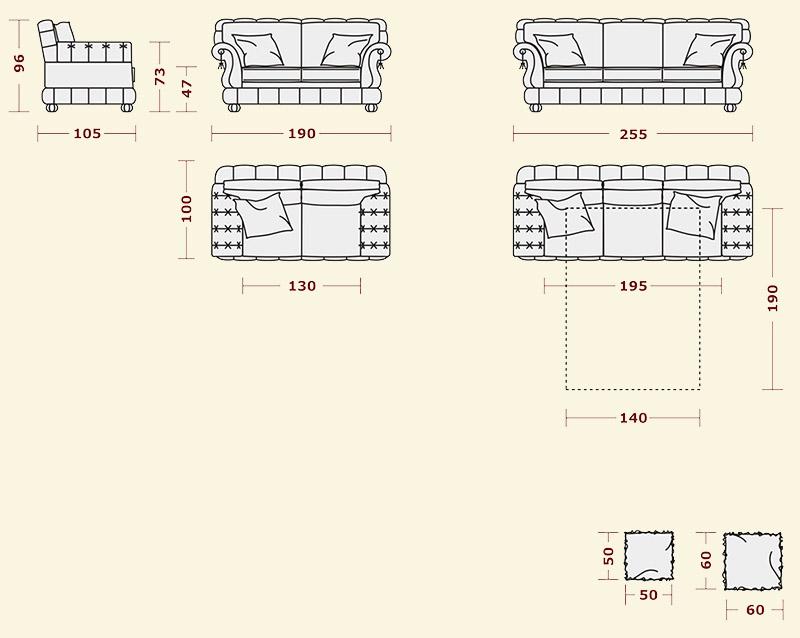 двухместный диван Sharm Classic от магазина эколмебель