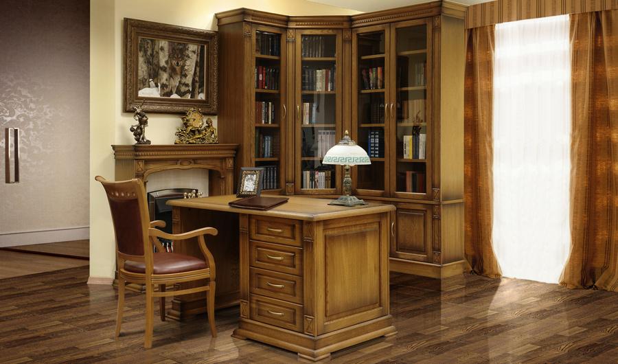 Мебель для библиотеки из натурального дерева